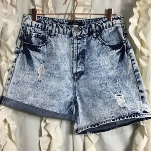 Forever21 high rise distress acid wash jean shorts